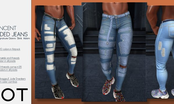 Valencia (female) Shredded Jeans or Vincent (Male) Shredded Jeans. L$199 each / Fatpack is L$1,299 each. 🎁