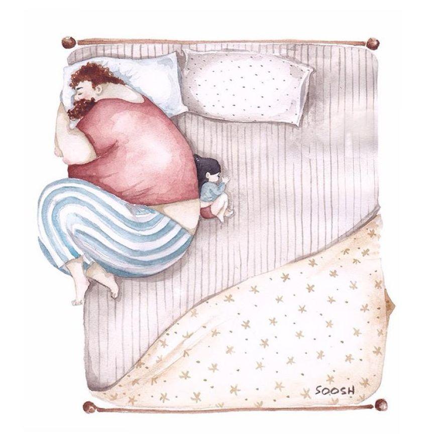 Ilustrații emoționante despre iubirea dintre tați și fiicele lor