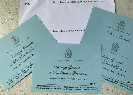 Nossos ingressos para a audiência com o Papa