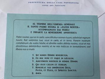 Verso do convite com oração e canção