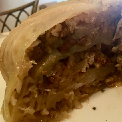 Stuffed cabbage with ground beef, bell pepper and rice