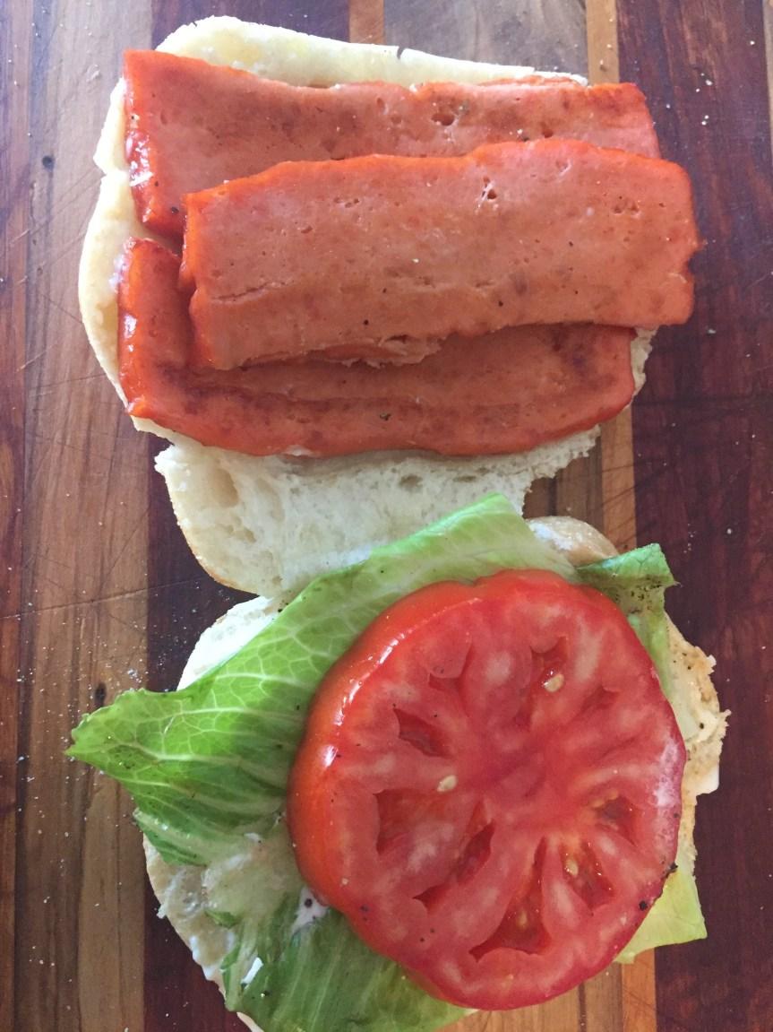 Salmon Bacon Lettuce Tomato Sandwich