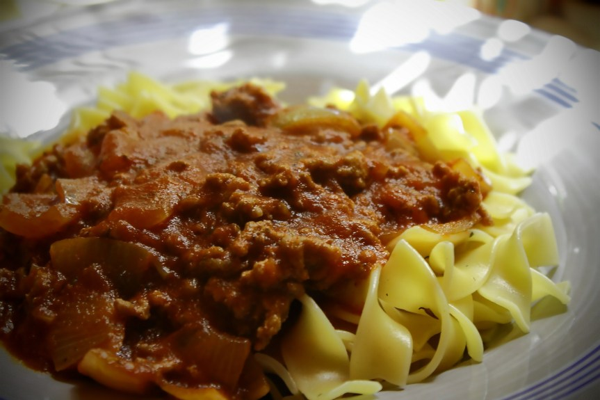 Alaska Bison Bolognese with Pappardelle*
