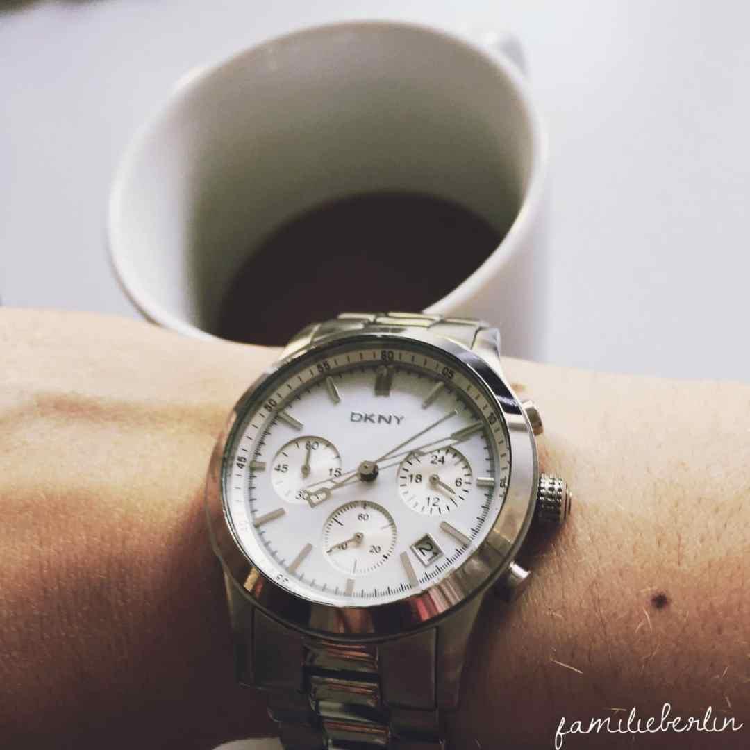 Tasse, Uhr, Zeit, Hektik, Stress, Morgen