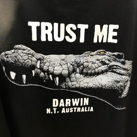 """(C) Jule Reiselust: """"Trust me"""" - T-Shirt auf Mindil Beach im Krokoland"""