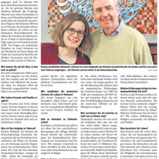 NRZ Artikel vom 1. Februar 2018 von Peter Toussiant über Kirsten und Matthias Wolandt in Teheran.