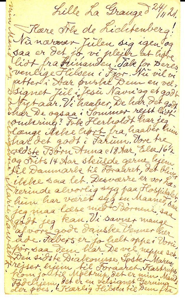 postkort Marie Lawaetz 1921.12.11