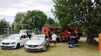 Die Freiwillige Feuerwehr Mahlsdorf war auch vor Ort.