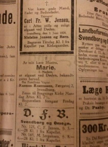 Dødsannoncen efter Marie Rasmussen f Madsen.