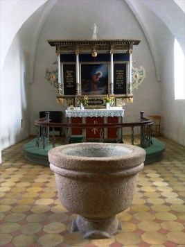 Døbefonden i Øksendrup Kirke.