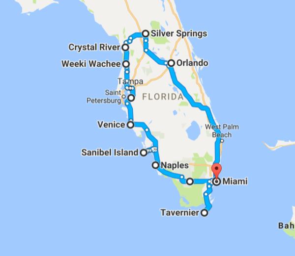 Reisebericht Rundreise Florida mit Kind Reiseroute