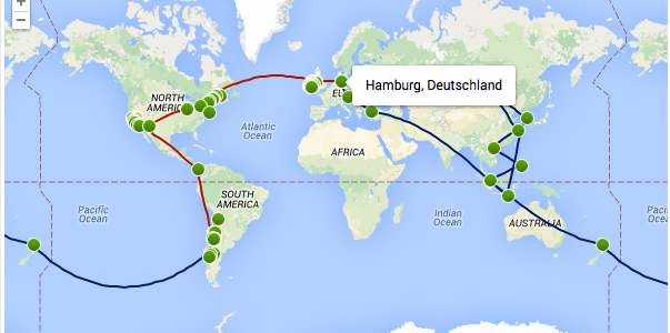 Die Karte unserer Reise