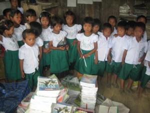 Children with new school books