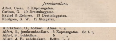 Ur Örebros adresskalender 1887.