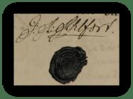 Gustaf Adolfs namnteckning 1794 när hans svärfar dött.