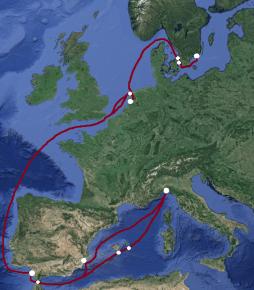 Rekonstruktion av resorna till Medelhavet 1727-1729.