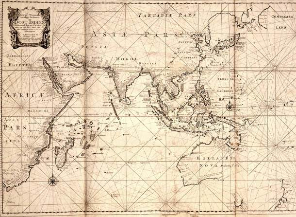 A Dutch map of the Indian Ocean from 1700, showing the area that Gabriel visited.