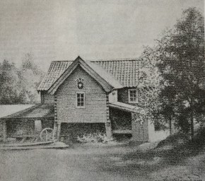 Kvarnen Berget under Hårdaholmen. Teckning av Arvid Hjelmquist.