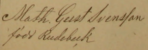 Mathildas namnteckning 1873 när hennes mamma dött.