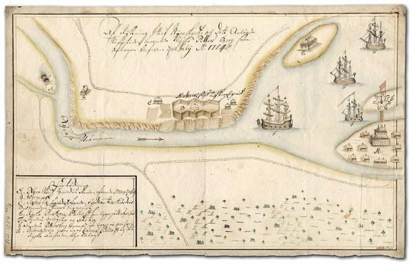 Denna kartan från 1704 visar den brinnande fästningen och den nya staden vid flodens mynning, samt det nyanlaggda ryska Kronslott på Retusaari/Kotlin, som skulle bli så ödesdigert för svenskarna.