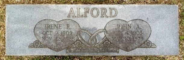 John Albert och Irenes grav på Carl Junction Cemetery. Källa: Findagrave.com.