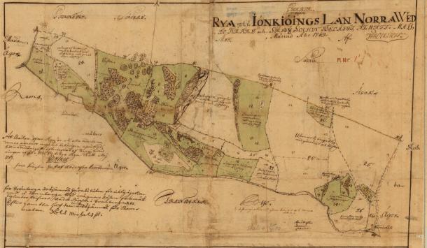Ryas ägor 1769. Källa: Lantmäteriet.