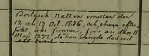 Prästens notis om Petters död. Säby församling.