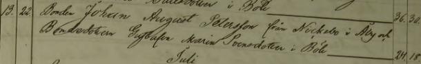 Johan August och Gustafva Marias bröllop 1859. Ryssby församling.