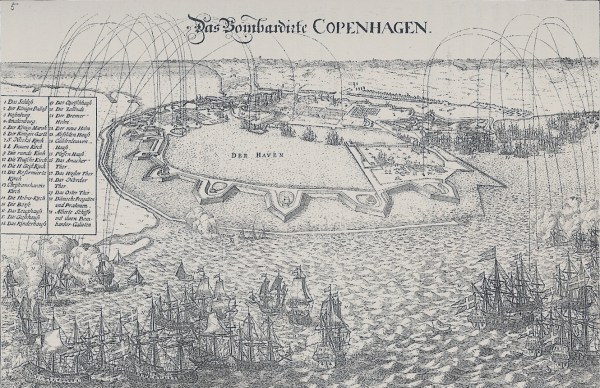 The bombardment of Copenhagen in the year 1700.