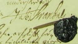 Johan Svanhals' namnteckning 1710 när Gabriel Gyllenståhl dött.