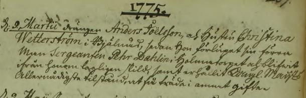 Christina Wetterström och Anders Joelssons bröllop 1775. Malexander församling.