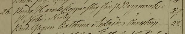 Cathrina Andersdotter och Jonas Peter Bergmarks bröllop 1834. Lommaryds församlnig.