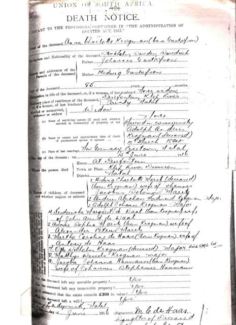 Anna Charlotta's death certificate. Kindly provided by Chris-Marié Wessels.
