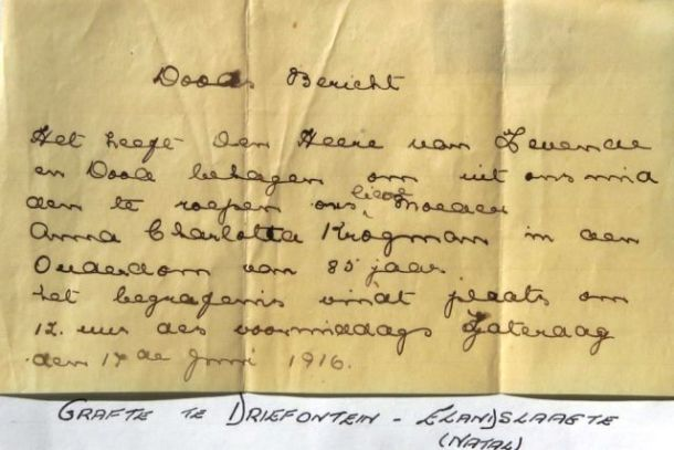 Anna Charlotta's burial notice. Kindly provided by Chris-Marié Wessels.