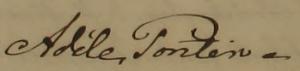 Adèles namnteckning när Vilhelm dött 1859.
