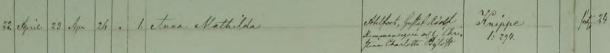 Anna Mathildas dop 1861. Vittnen: Torp. Johan Carlsson i Nyhem och h. Gustava Jonsdotter, Dr. Johan Alec Andersson i Knippe och Pig. Hedda Frans i Knippe (Torpa Socken). Johan Alec Andersson er Gustaf Adolfs stedbror, og Nyhem er et torp på Knippes jorder. Ekeby församling.