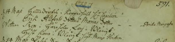Maja Caisas oäkta dotter 1727. Vittnen: Sven i Håreholm, Lars i Blåwijk, Hust. Karin i Blåwijk, hust. Maria Ibidem. Torpa församling.