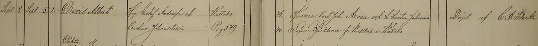 David Alberts dop 1872. Vittnen: Hussaren Carl Joh. Axvall och h. hustru Johanna Sofia Björkland fr. Kulltorp u. Kättebo. Säby församling.