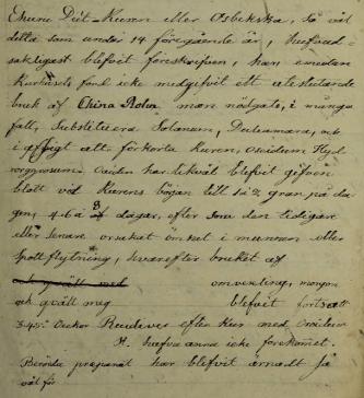 Adolf Fredriks egen behandlingsnotis ca. 1825.