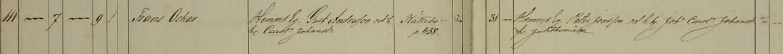 Frans Oskars dop 1863. Vittnen: HemmsEg. Peter Jonsson och h. h. Joha Carola Johansdr fr Judithsmålen. Säby församling.