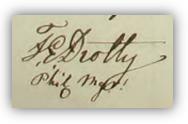 Fredrik Edvards namnteckning 1857 när pappan dött.