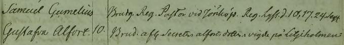 Äktenskapet mellan Gustava och Samuel 1815. Torpa församling.