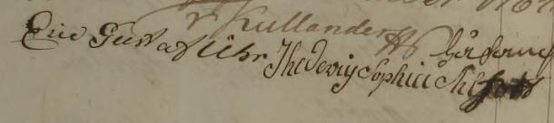Hedevig Sophia och Eric Gustafs namnteckningar 1783.