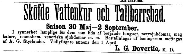 Styrlander som kamrer på Sköfde Vattenkuranstalt. Annons i Blekingsposten 16/5 1882.