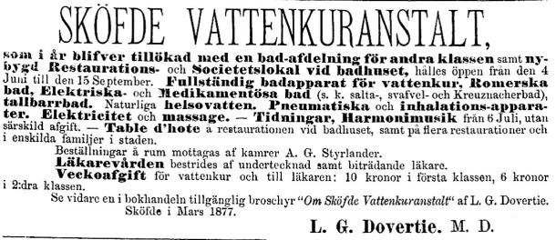 Styrlander som kamrer på Sköfde Vattenkuranstalt. Annons i Wernamo Tidning 13/4 1877.