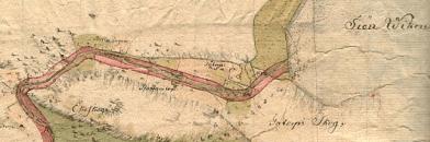 Del av en originalkarta från utgrävningen av Göta Kanal vid Tåtorp. Linköpings Universitet.