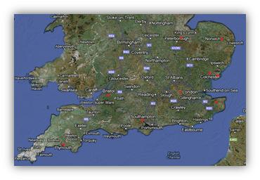 De flesta av de 50.000 huguenotterna som flydde till England bosatte sig i London, men även städer som Norwich, Southampton, Canterbury, Colchester, Thorney i Cambridgeshire, Bristol, Stonehouse i Plymouth och Thorpe-le-Soken i Essex tog emot många flyktingar.