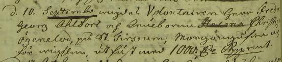 Volontairen Herr Fredric Georg Ahlfort och Wälborna Helena Christina Ögenelod gifte sig 1776. Morgongåfvan var för wigslen utfäst med 1000 Rdr Kopparmt. Tidersrum församling.