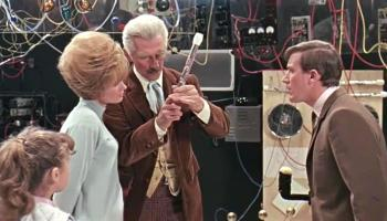 Doctor Who (Peter Cushing) and his companions inside the TARDIS
