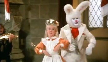 Song lyrics to Welcome Queen Alice, Music by Steve Allen, Lyrics by Lewis Carroll, Performed by Red Buttons and Natalie Gregory in Alice in Wonderful 1985